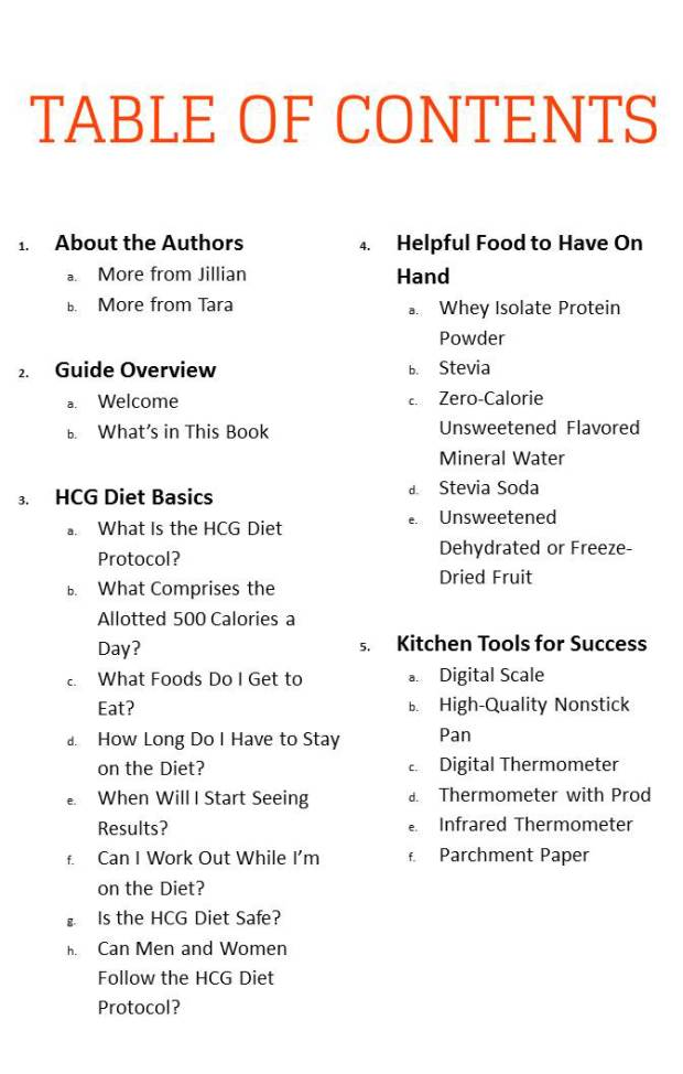 The HCG Diet Cookbook - Table of Contents